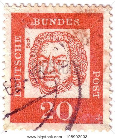 Germany - Circa 1963: A Stamp Printed In The Germany Shows Johann Sebastian Bach, Composer, Organist