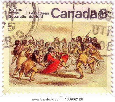 Canada - Circa 1975: Stamp Printed By Canada, Shows Subarctic Indians, Circa 1975