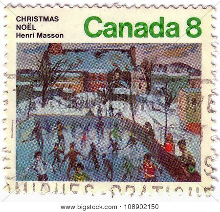 Canada - Circa 1974: A Stamp Printed In The Canada Shows Skaters At Hull, Painting By Henri Masson,