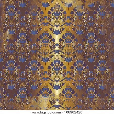 blue iris  Floral Pattern On Golden Background