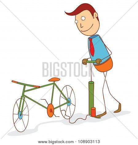Pumping A Bike Wheel