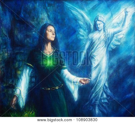 mystic woman  in historical dress with ornament and angel. Spiritual concept. Painting on canvas wit