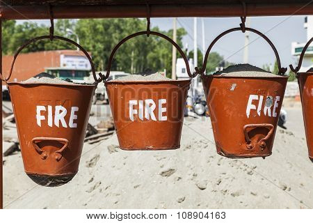 Bucket With Sand In A Petrol Station For Fire Fighting