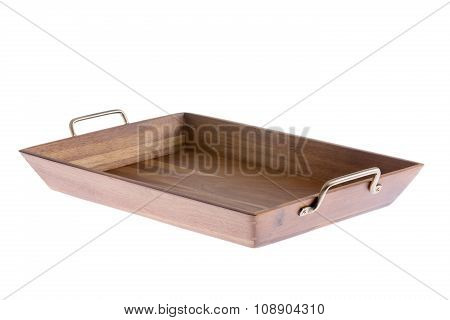 Rectangular Wooden Tray With Brass Handles