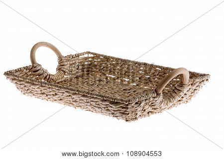 Rustic Rectangular Wicker Tray Isolated On White