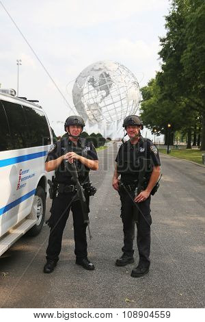 NYPD counter terrorism officers providing security