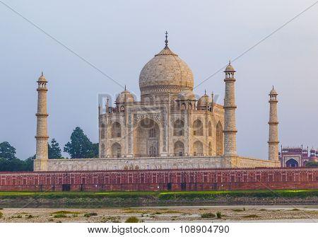Taj Mahal From Yamuna River In Sunset