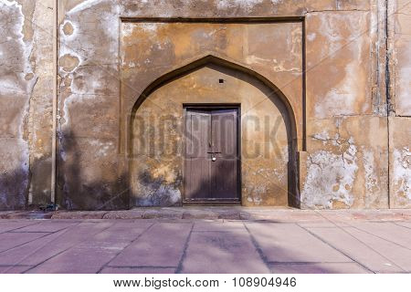 Locked Door At Agra Red Fort