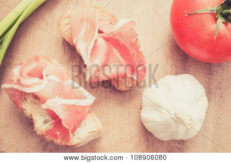 Spanish Jamon Snacks. Filter Pastel