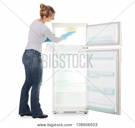 Young Woman Cleaning Refrigerator