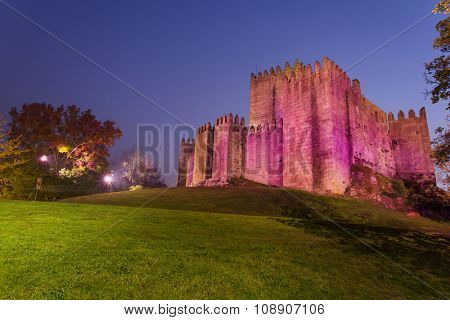 Guimaraes castle at sunset, north of Portugal
