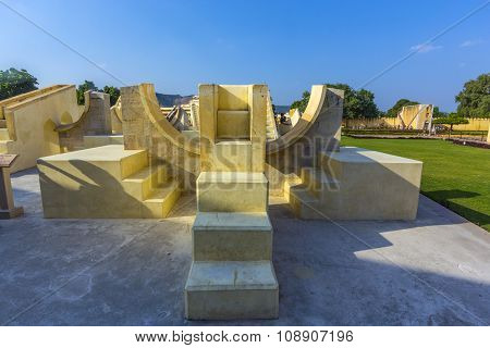 JAIPUR, INDIA - JAN 12, 2012: Astronomical instrument at Jantar Mantar observatory - Jaipur Rajasthan India