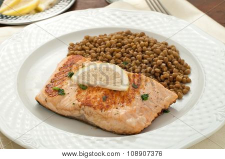 Fillet Of Grilled Salmon With Lentils,