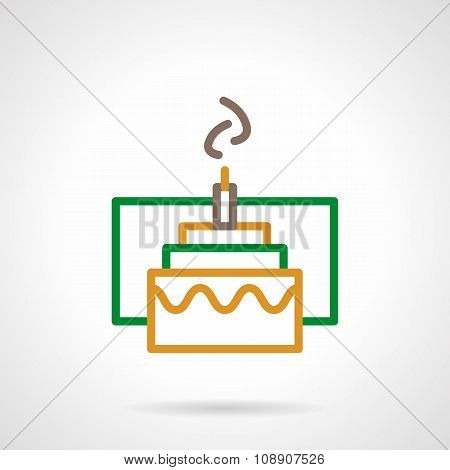 Color simple line festive cake vector icon