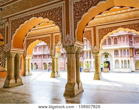 JAIPUR, INDIA - JAN 11, 2012: Chandra Mahal in City Palace Jaipur India. It was the seat of the Maharaja of Jaipur the head of the Kachwaha Rajput clan. The Chandra Mahal palace seen in this photo now houses a museum.