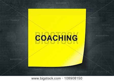 Coaching Word On Yellow Note