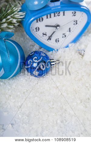 Christmas Composition With Blue Clock