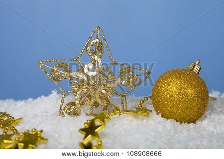 Christmas Decorations In The Snow