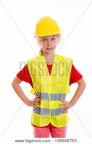 Blond Girl With Reflective Vest And Helmet