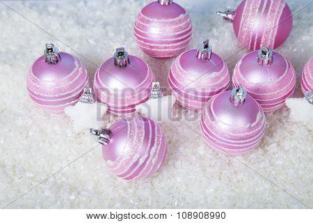 Pink Balls On The Snow.