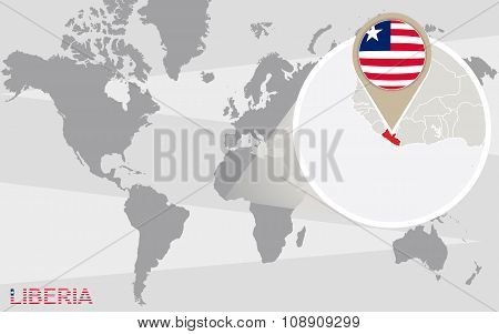 World Map With Magnified Liberia