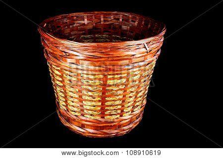 Rattan Waste Paper Basket On Black Background