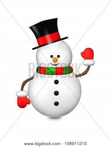 Cartoon Snowman Isolated Over White
