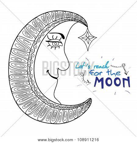 Beautiful Cartoon Moon With Star