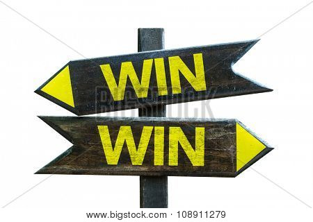 Win Win signpost isolated on white background
