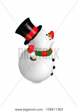 Cartoon Snowman Looks Up Over White