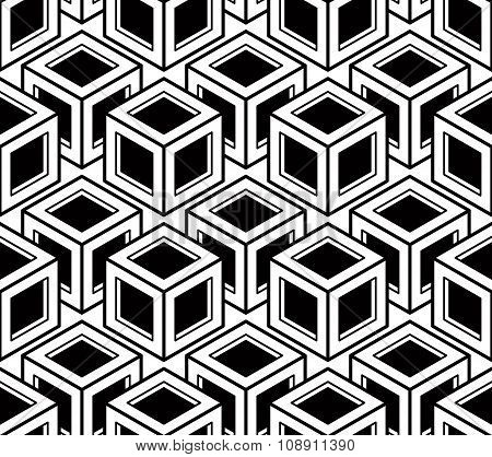 Seamless Optical Ornamental Pattern With Three-dimensional Geometric Figures. Intertwine Black