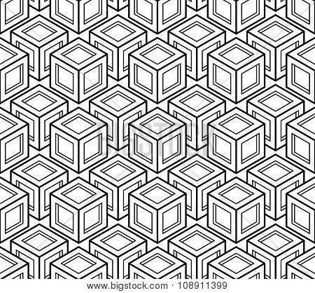 Contrast Black And White Symmetric Seamless Pattern With Interweave Figures. Continuous Geometric