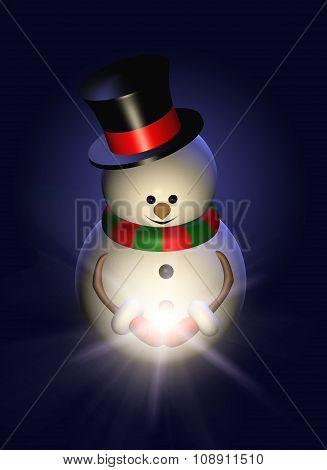 Snowman Holding Christmas Star In The Night
