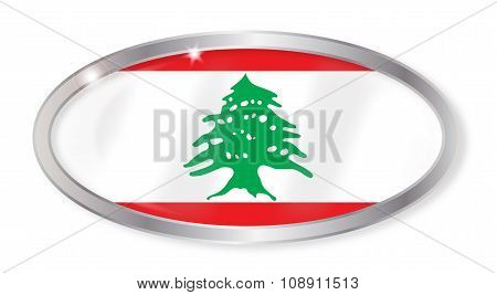 Lebanon Flag Oval Button