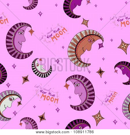 Cartoon Seamless Pattern With Moon And Stars In Pink Colors