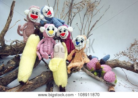 Year Of Monkey, Knitted Toy, Symbol, Handmade
