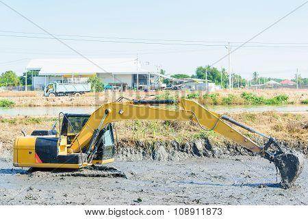 Backhoe Working In Mud Swamp
