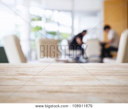 Table Top With Blurred People In Lobby Interior Background