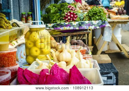Pickled vegetables for sale at a farmers market in Pyatigorsk, Russia