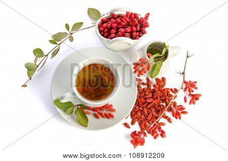 Presentation For Goji Fresh Antioxidant Tea Isolated On White Background
