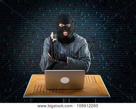 Hacker is ready to start hacking laptop