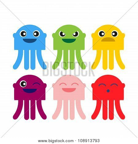 Color Cute Jellyfish Smiling Icon Set
