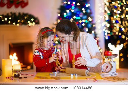 Mother And Child Baking Christmas Cookies