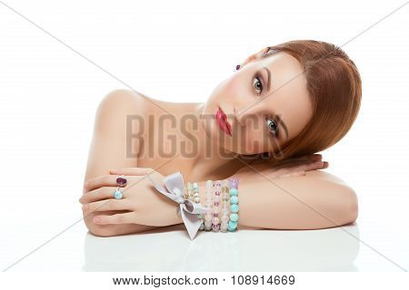 Girl with necklace and bracelets