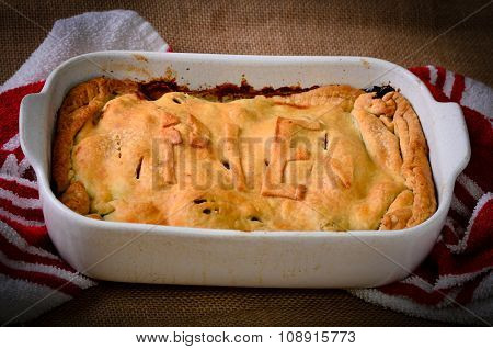 Home Made Rustic Style Meat Pie