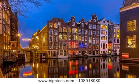 Nightscape Of Canal Houses  Amsterdam
