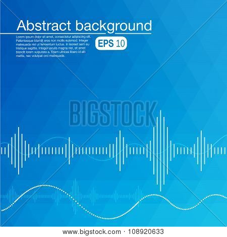 Abstract background with sound waves and curves.