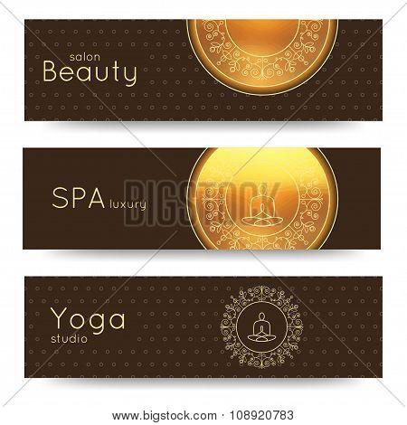 Elegant Yoga Vector Banner. Professional Banner Templates For Yoga Studio.