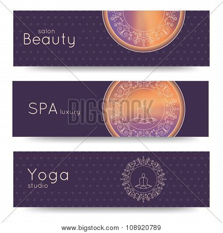 Elegant Yoga Vector Banner. Professional Banner Templates.