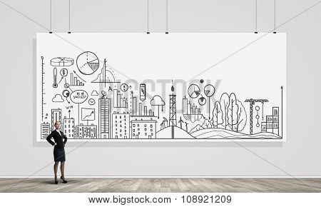 Fullbody of businesswoman making her presentation on banner